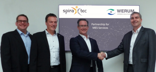 From left to right: Nicolas Teska (Team and Account Manager, SpiraTec), Michael Henter (Regional Manager Industrial IT Solutions, SpiraTec), Andreas Schadt (CEO, SpiraTec), Torsten Isenberg (Senior Director Services, Werum IT Solutions)