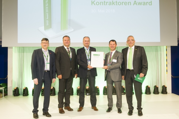 Presentation of the BASF Award 2018 for contractors